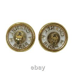 CHANEL Vintage Acrylic Gold Plated Clip-On Faux Pearl Earrings