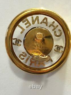 CHANEL Vintage CC Logo Acrylic CLIP ON Earrings