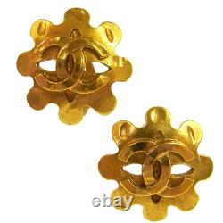 CHANEL Vintage CC Logos Earrings Clip-On Gold 1.1 1.1 94P AK36797i