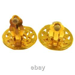 CHANEL Vintage CC Logos Gold Button Earrings Clip-On 1.1 95A AK35550g