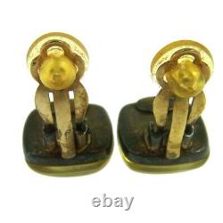 CHANEL Vintage CC Logos Stone Earrings Clip-On K08402d