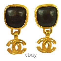 CHANEL Vintage CC Stone Earrings Clip-On Gold Brown 0.7 1.4 97A AK36787j