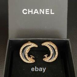 CHANEL Vintage Moon Clip On Black & Gold Earrings