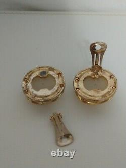 CHANEL Vintage (c1990-1994) Gold CC Logo on Faux Pearl Button Clip-on Earrings