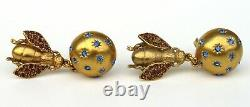 CHRISTIAN DIOR Vintage Gold Tone Amber Strass Bee Blue Crystal Clip On Earrings