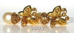 CHRISTIAN DIOR Vintage Gold Tone Strass Butterfly Faux Pearl Clip On Earrings