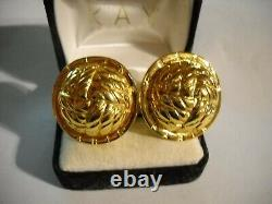 Celine Paris Clip Earrings Vintage Gold Plated Made in Italy