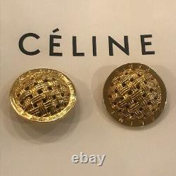 Celine Paris Clip On Earrings Vintage Costume Jewelry Céline 1992 Gold Tone