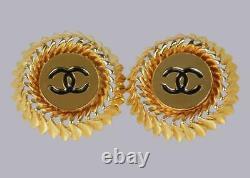 Chanel CC Earrings Huge 1.5 4cm Gold Tone & Black Enamel Vintage 1980's Clip On