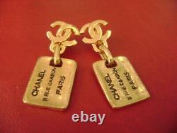 Chanel CC Logo very vintage rectangle Dangle Drop Clips Earrings