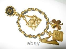 Chanel Clip On Earrings Leather Chain 8 Gold Charms Vintage, CC Logo Wow Rare