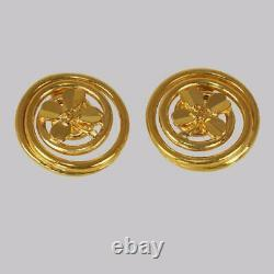 Chanel Clover Earrings Huge 1.3/4 4cm Gold Tone Vintage 1993 Shamrock Clip On