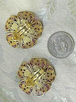 Chanel Earrings Red Camellia Gripoix Glass Clip 01A Box Filigree Fall 2001 VTG