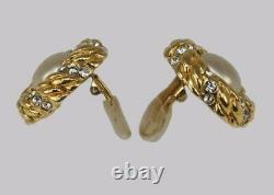 Chanel Faux Pearl & Crystal Earrings Clip On Vintage 1980 with Box Collection 23