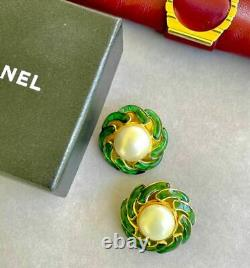 Chanel Large Earrings Gripoix Vintage Cabochons and Large Bead
