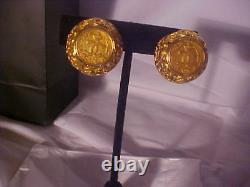 Chanel Vintage 1980' S Clip On Earrings Amber Color Murano Glass, Refurbished