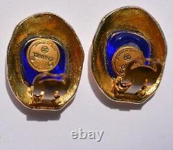 Chanel Vintage 1980's Blue Glass Gripoix Clip On Earrings