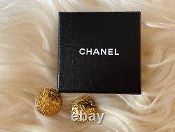 Chanel Vintage 70's 80's Gold Large CC Logo Clip On Coin Statement Earrings