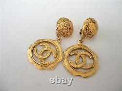 Chanel vintage CC Logo large size dangle clips Earrings
