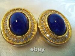 Christian Dior Blue Oval Clip back earrings Vintage W Crystals Vintage mint