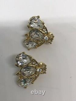 Christian Dior Crystal Bee Clip On Earrings Mint Condition Vintage 2,4cm Rare