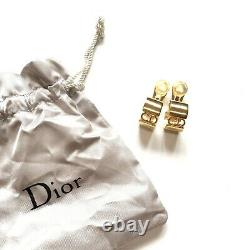 Christian Dior Earrings CD Logo Gold Vintage Clip On Signed Authentic