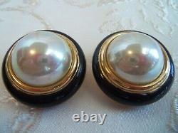 Christian Dior Large Pearl & Black trimmed enamel Clip back earrings Vintage