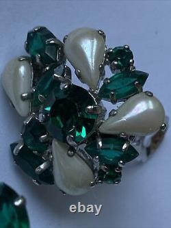 Christian Dior Rare Vintage 1959 Beautiful Clip On Crystal Earrings
