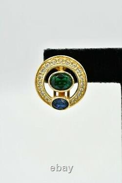 Christian Dior Signed Clip On Earrings Pave Green Blue Crystal Gold Vintage BinW