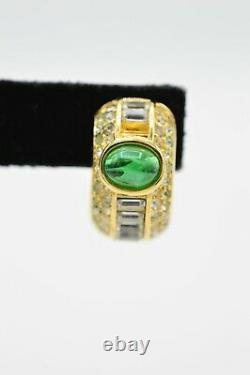 Christian Dior Signed Earrings Clip On Green Gripoix Rhinestone Gold Vintage BnS
