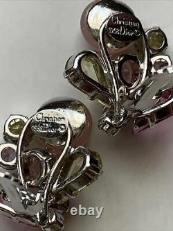 Christian Dior Vintage Clip On Earrings Signed 1958