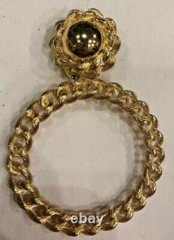 Christian Dior Vintage Hoop Loop Clip Earrings RARE