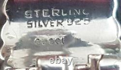 Chunky Designer Vintage Gucci Charm Silver 925 Clip On Earings. Gucci Signed