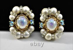Classic Vintage Signed Schiaparelli Faux Pearl Aurora Borealis Clip Earrings C5