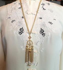 Crown Trifari Long Gold Dangle Pendant Necklace&Clip Earrings Set 1950's Vintage