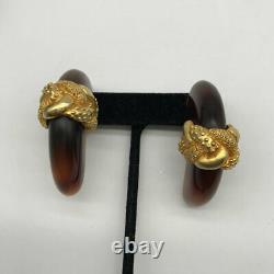 Dominique Aurientis Vintage Tortoise Clip On Earrings