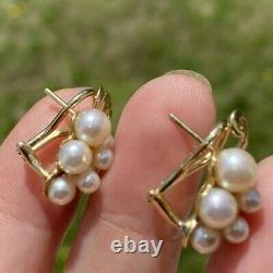 ESTATE VINTAGE CULTURED PEARL 14K OMEGA GOLD CLIP ON STUD EARRINGS 20x10 mm 5.5g