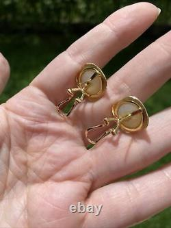 ESTATE VINTAGE MABE PEARL 14K GOLD OMEGA CLIP ON STUD EARRINGS 15mm 5.6 gr