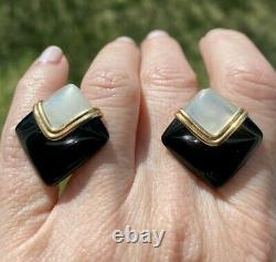 ESTATE VINTAGE Mother o PEARL ONYX 14K GOLD OMEGA CLIP STUD EARRINGS 25mm 11gr
