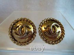 Early Chanel CC Logo Gold Plated Round Clip Back Earrings Vintage Authenic