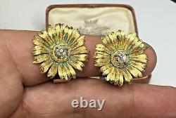 Estate Antique Art Deco 18K Gold 1.30 CTW Diamond Flower Clip-on Earrings 13 Gr