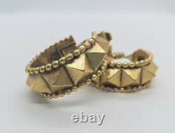 Fabulous Vintage Yves Saint Laurent YSL Pyramid Hoop Clip Earrings