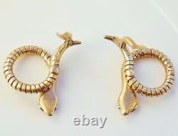 Fine Vintage 9ct Gold Ruby Snake Motif Clip-on Earrings c1956 by Cropp & Farr