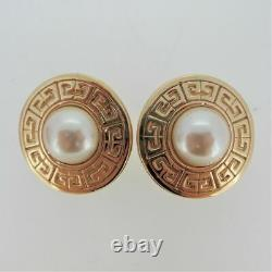 Givenchy Large Vintage Gold Tone Faux Pearl Logo Clip On Signed Earrings