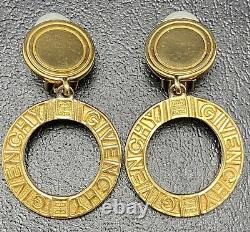Givenchy Logo Knocker Clip On Earrings Vintage Estate Gold Tone Costume Jewelry