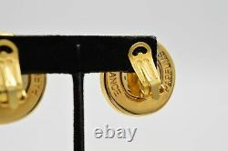 Givenchy Parfums 4G Logo Signed Clip On Earrings Gold Rare Vintage Runway BinH