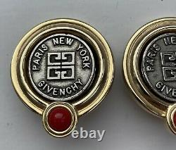 Givenchy Paris Vintage Art Deco Style 1980s Gold Tone Logo Clip On Earrings
