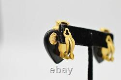 Givenchy Signed Earrings Clip On Brushed Gold Black Heart Vintage Runway Bin1