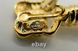 Givenchy Signed Vintage Clip Earrings Logo 4G Dangle Pearl Gold Runway 80s BinC