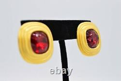 Givenchy Signed Vintage Clip On Earrings Brushed Gold Red Crystal Runway BinX